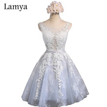 Lamya Women's A Line Short Prom Dresses Elegant Evening Party Homecoming Dress With Lace 2017 Sexy Real Photo Cheap Gown