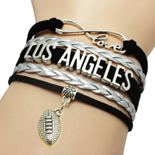 Infinity Love Los Angeles Baseball Team Bracelets Leather Suede Rope Charm Customize Friendship Wristband Women Bangle