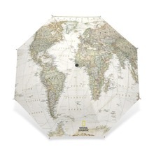 2017 Women's Men's Vintage World Map Umbrella Parasol Automatic 3 Folding Sun Rain Women Protection Windproof Umbrellas(China)