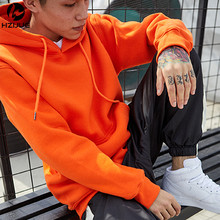 Fashion Color Hooides Men's Thick Clothes Winter Sweatshirts Men Hip Hop Streetwear Solid Fleece Hoody Man Clothing USA SIZE(China)