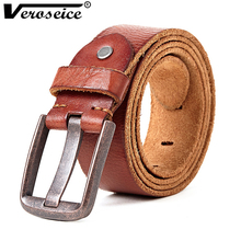 [Veroseice] Vintage Cowboys 100% Real Grain Genuine Leather Designer Belts Men High Quality Ceintures Cowhide Men Waist Belt(China)