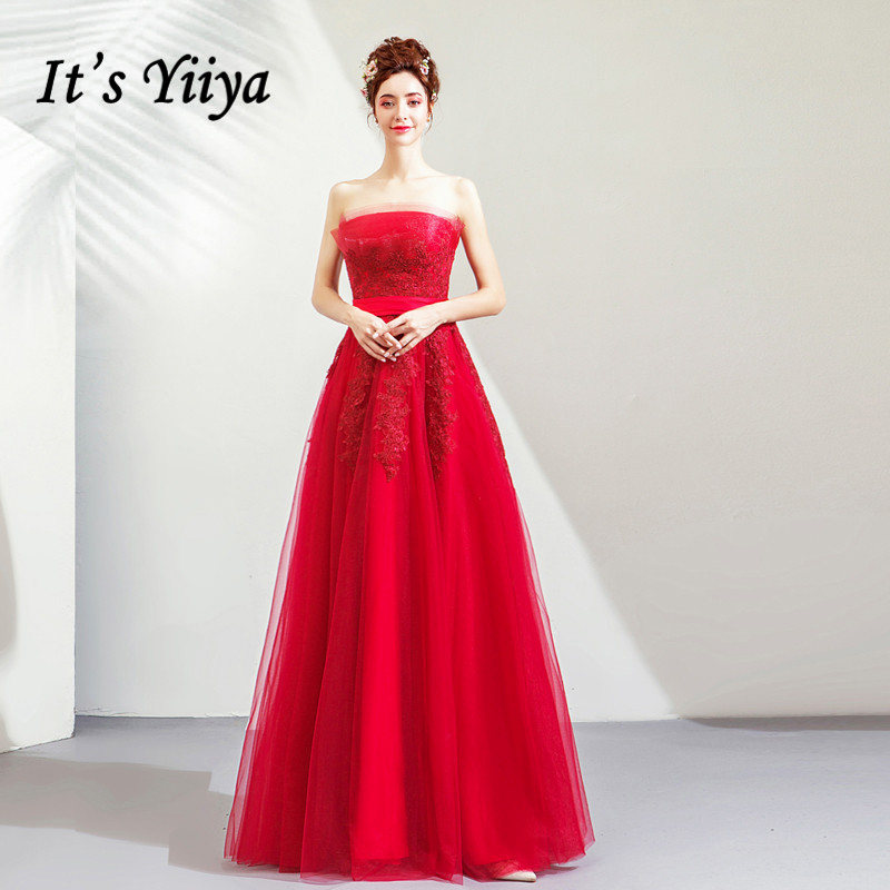 It's YiiYa Evening Dress Embroidery Strapless Wine Red Sleeveless Wedding Party Dresses Pleat Lace Long Formal Gown E152