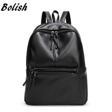 Bolish New Travel Backpack Korean Women Backpack Leisure Student Schoolbag Soft PU Leather Women Bag