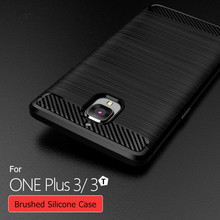 Super TPU Case For Oneplus 3T/ One plus 3 Three 1+3 Phone High Grade Carbon Fiber Brushed Soft Silicone TPU Case Back Cover Capa
