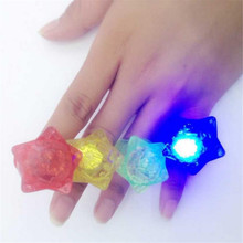 "Feshion LED flashing Star Finger ring 50pcs/lot printed ""LOVE""soft rubber Party Wedding supplies toys put on hand(China)"