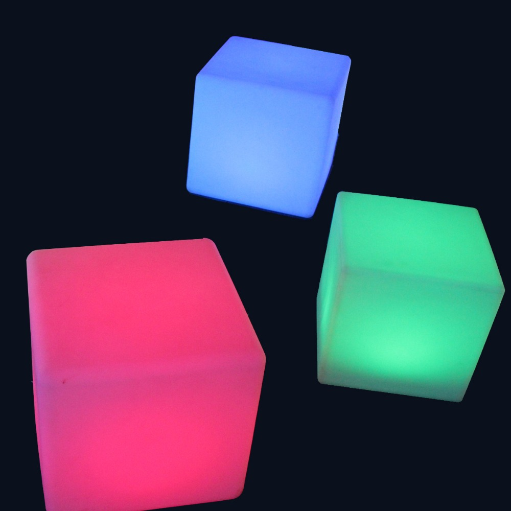20cm Lounge Colored PE RGB LED Cubes grow cube chair light stool cube led cube chair free shipping 50pcs<br>