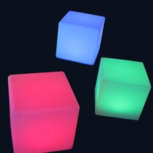 20cm Lounge Colored PE RGB LED Cubes grow cube chair light stool cube led cube chair free shipping 50pcs(China)