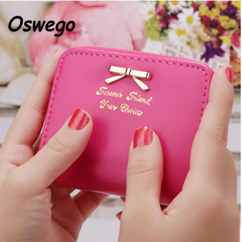 Candy Color Women Short Wallet Cute Bow Ladies Zipper PU Leather Purse Coins Bag Cards Holder Pouch Clutch Bag Billetera portfel<br><br>Aliexpress