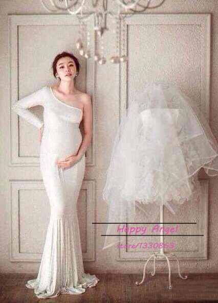 New Photography Props clothing Pregnant Women Dress Pregnancy Pure White Elegant Mermaid Photo Shoot Baby Shower Free shipping<br><br>Aliexpress