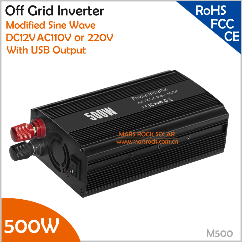 12V DC to AC 110V or 220V 500W Inverter application in car for charging phones, sparker, cameras<br>