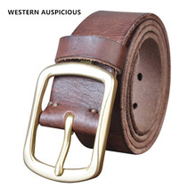 WESTERN AUSPICIOUS Men Belt Genuine Leather Belts With Brass Buckle Washed Retro Style
