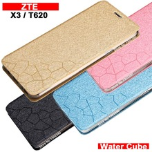 ZTE blade t620 case cover leather luxury water cube pu flip case for ZTE t620 blade x3 case 4 style t620 ZTE blade t 620 case(China)
