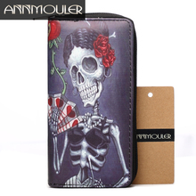 Annmouler Brand Women Wallet Pu Leather Purse Skull Print Coin Purse Long Size Zipper Wallets Large Capacity Card Holders(China)