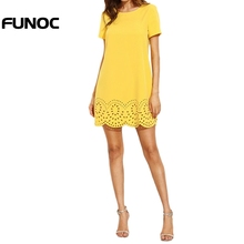 Buy Funoc Summer Casual Chiffon Dress Women Mini Dresses Fall Fashion Shift Dress Yellow Short Sleeve Hollow Hem Shift Dress for $7.24 in AliExpress store