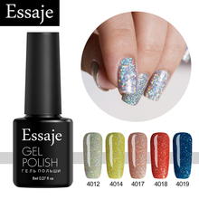 Essaje Gel Nail Polish Neon Bling UV LED Lamp Soak off Lucky Colors 8ml Gel Polish Nail Art Colorful Foil Adhesive(China)