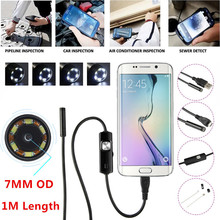 1M 7mm Lens HD 480P USB Endoscope Waterproof 6 LEDs Inspection Pipe Camera Snake Tube For Android Phone PC