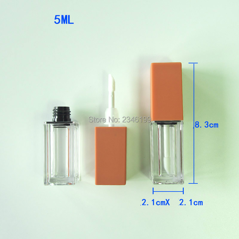 Pumpkin Color Lip Gloss Tube 5ml Transparent Lip Glaze Tube Cosmetic Container Lipgloss Packaging Empty Lip Gloss Container (9)