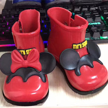 2017 Spring Summer Child Pvc Shoe for Baby Girl Bow Rain Boot Children Jelly Shoes Boots Girls Rainboots Water Shoes Minnie