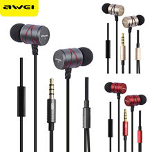 Awei Steelseries Q5I Metal Stereo Earphone Super Bass Earbuds with Mic For IPhone Samsun(China)