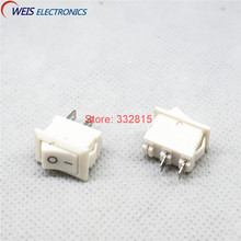 100pcs 10x15mm Mini rocker switch White 2 throw 2pins I/O button power switches KCD1 10*15  Free shipping D.