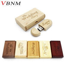 VBNM Customer LOGO (over 10 PCS free LOGO) Wooden USB flash drive pen drives Maple usb +box 4GB 8GB 16GB 32GB memory stick Gift(China)
