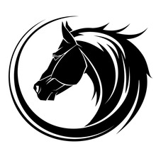 14*12.2CM Creative Arc Horse Head Car Styling Bumper Decal Personality Car Sticker Black/Silver S1-2016(China)