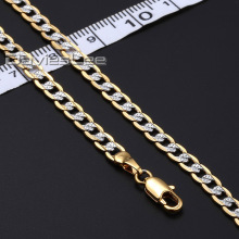 Davieslee 4mm 45cm 50cm 55cm 40cm Womens Mens Gold Filled Necklace Curb Cuban Chain Fahsion Jewelry DLGN64(China)