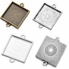 Fit 25x25mm Square Antique Silver/bronze Silver Cameo/Cabochon Frame Bezel, Pendant Connector Tray blank 20pcs/lot (K05190)(China)