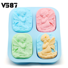 4 Holes Angels Silicone Mold Die Food-Grade Material Angel Couple Soap Mold Cake Maker Tool Kitchen Bakeware Supplies