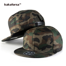 Kakaforsa Men Camo Cotton Baseball Caps High Quality Printing Hip Hop Snapback Hats Camouflage Flat Adjustable Trucker Cap
