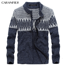 CARANFIER Winter Men Knitted Cardigan Sweater Male Cotton Casual Sweater Turtleneck O-Neck Slim Fit Men Leisure Christmas Style(China)