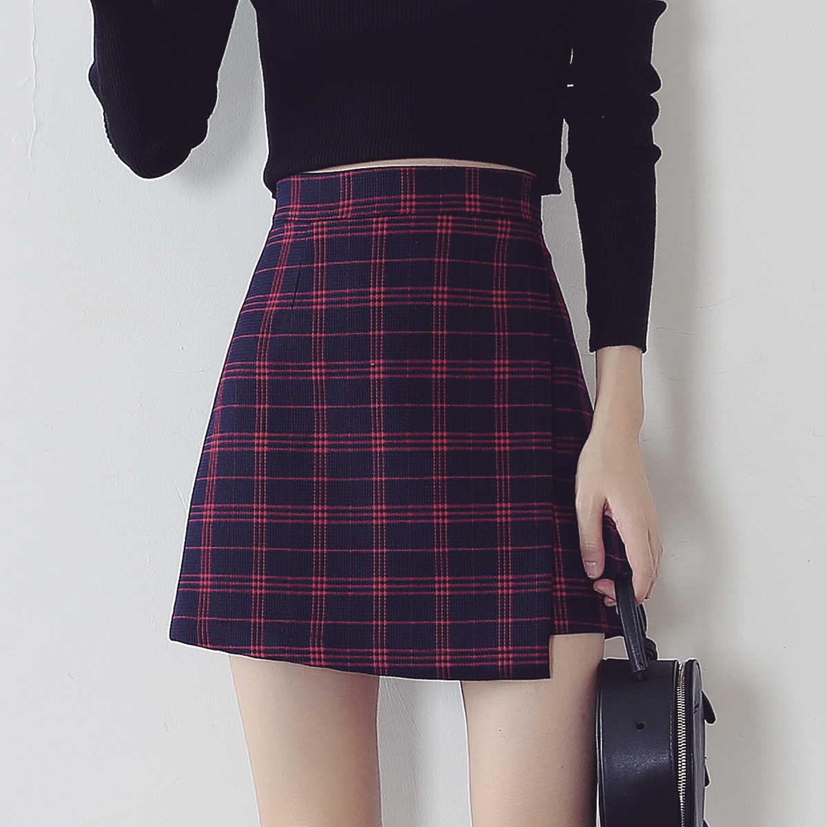 25f56a7f65d Женские летние юбки плюс размер Модная шикарная клетчатая юбка с высокой  талией А-силуэта винтажная