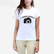 I SHOOT PEOPLE Camera printing fashion T-shirt of a woman Summer girl T shirts manufacturers selling can be customized