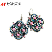 2017 New Arrival Brincos Earrings Vintage Colorful Beads Charms Rhinestones Lucky Clip On Earrings For Women Statement Jewelry(China)