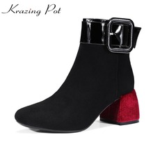 Krazing Pot sheep suede high fashion mixed color thick high heels gladiator square toe women model work safety ankle boots L32(China)