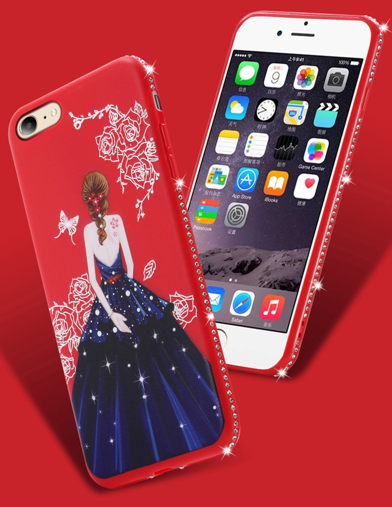 dress girl silicone case iphone 6 s 7 8 plus (2)