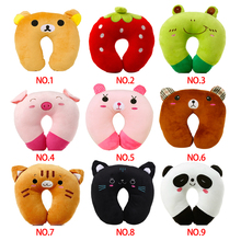 Hot Sale 9 styles U-shaped Plush Pillow Travel Pillow Cartoon Animal Car Headrest Doll(China)