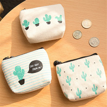 1PC Small Cute Kids Storage bag Coin Wallet Women Money Pouch Cactus Change Pouch Key Holder Bag Canvas Storage bag KO896491(China)