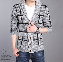 New 2016 Fashion Sweater Men Pull Homme Long Sleeve Single Breasted Casual Knitted Checked Sweater Man Cardigan Sweater