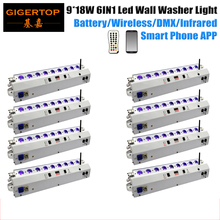 Freeshipping 8 Pack 9X18W Mobile Control RGBWA UV Leds Wall Wash Bar Wedding Stage Background Decoration iOS Android System App