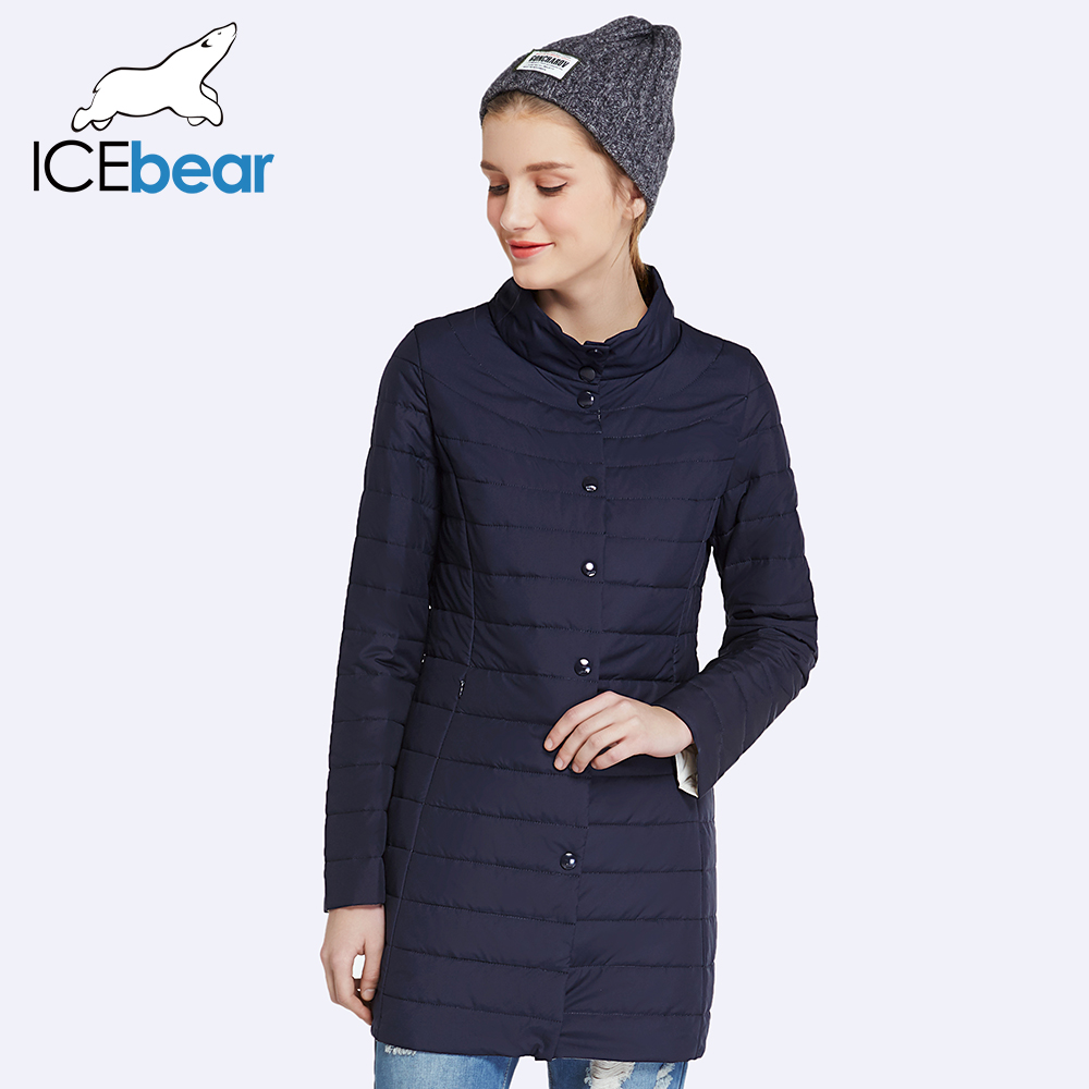 ICEbear 2017 Single Breasted Side Pockets With Closed Zipper Spring Jacket Women Coat Cotton Padded Slim Jacket Coat 17G298D(China)