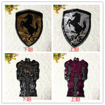 2017 Horse Robort NEW TRANSFORMER Reversible Change color Sequins Sew On Patches for clothes DIY Patch Applique Bag Clothing