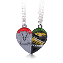MS JEWELS 6pcs Batch Wholesale Heart Shape Double Pendant Thor Odinson With Thor Loki Necklace Pair Neck Pendant Chains Jewelry