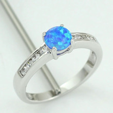 HAIMIS Blue Fire Opal CZ Women Claw Inay Fashion Jewelry Opal Ring Size 6 7 8 8.5 40B