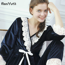 RenYvtil Pleuche Flannel Pajamas Girl's Autumn Long Sleeve Pajama Pants Lace Pyjama Lounge Set Female Princess Royal Victorian