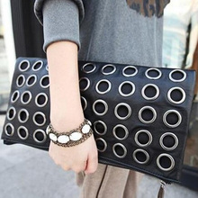Fashion Style PU Leather Handbag Famous Brand Retro Rivet Tote Bag Lady wallet Clutch Female Purse Evening Bag LH72