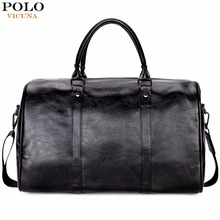 VICUNA POLO Casual Business Men Travel Bags Large Capacity Rolling Travel Handbag Black Leather Mens duffel bag For Short Trip(China)