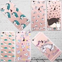 Cute Cartoon Unicorn Case Cover For iphone 6 6s 5 5s se 7 Plus Transparent Silicone Cell Phone Cases(China)