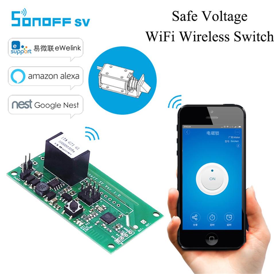 Sonoff SV Safe Voltage WiFi Wireless ONOFF Switch Smart Home DIY Module 5-24V Control AC DC Power work with Alexa Nest Ewelink-1