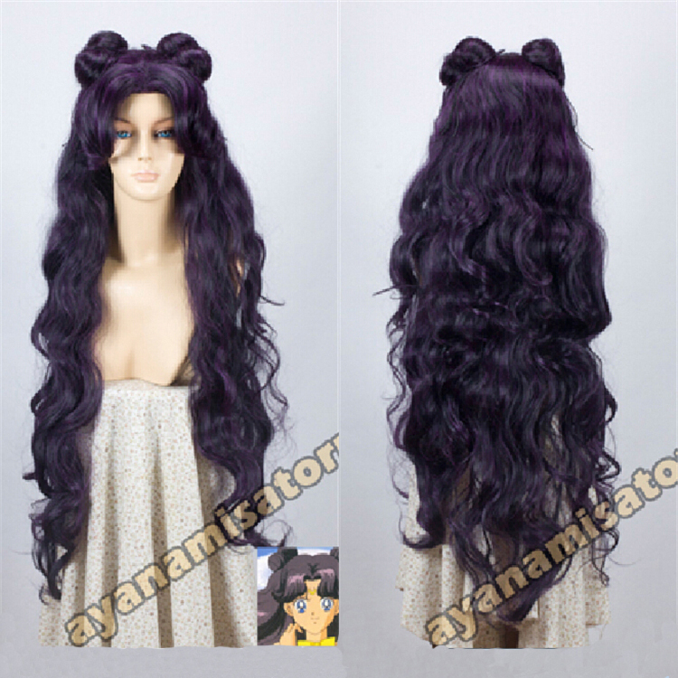 Sailor Moon Luna High Quality Long Wavy Curly Purple Black Full Lace Anime Cosplay Wigs Luna Natural Hair Wig Free Shipping<br><br>Aliexpress
